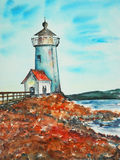 Watercolor painting, lighthouse Stock Images