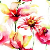 Watercolor painting of Lily and Daisy flowers. Seamless pattern Stock Photography