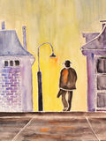 Watercolor painting, loneliness. Watercolor painting of a loney man walking down the streets Stock Image