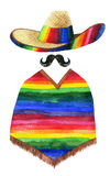 Watercolor painting of man wearing sombrero Royalty Free Stock Photos