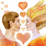 Watercolor painting of man and woman with hearts Stock Photography