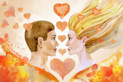 Watercolor painting of man and woman with hearts Royalty Free Stock Photos