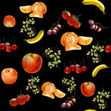 Watercolor painting many fruits seamless pattern stock illustration