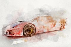 Watercolor painting of modern red sports car. Royalty Free Illustration