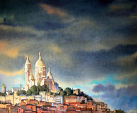 Watercolor painting of the Montmartre, in Paris Royalty Free Stock Photography