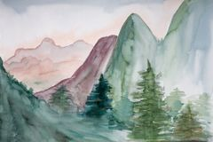Watercolor Painting Of Mountain Landscape.  royalty free stock image