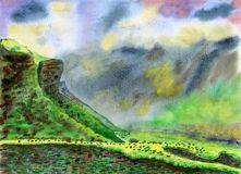 Mountain valley in the cloudy evening. Watercolor Painting. Mountain valley in the cloudy evening. The sheep go home through the alpine meadow. Summer and fun Stock Image