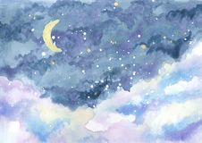 Watercolor painting of night sky with crescent moon among stars. And clouds, hand drawn landscape illustration stock illustration