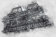 Watercolor painting of Notre Dame royalty free stock photos