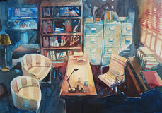 Watercolor painting office room light glow Stock Image