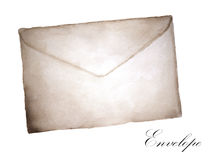 Watercolor painting of Old envelope.  royalty free illustration