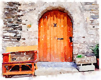 Watercolor painting of an old wooden door in Spain with a bench. Digital watercolor painting of a classic old wooden door in the Pyrenees in Spain, with a bench Royalty Free Stock Photography