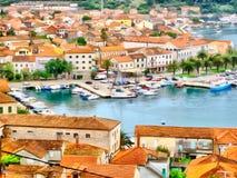 Watercolor painting  of orange roofs Mediterranean coastal homes Stock Photos