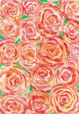 Watercolor painting of orange roses background. Scenic background image orange roses Stock Illustration