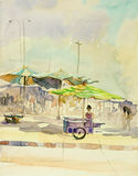Watercolor painting original colorful of market town. Stock Images
