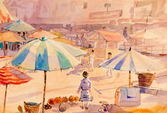 Watercolor painting original colorful of market town   Royalty Free Stock Photography