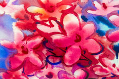 Watercolor painting original flower colorful of bouquet pink flowers. Royalty Free Stock Photos
