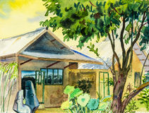 Watercolor painting original house at countryside under the green tree Stock Image