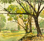 Watercolor painting original landscape colorful of big tree and field Stock Image