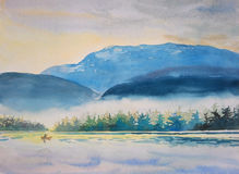 Watercolor painting original landscape colorful of boating morning Stock Photos