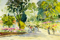 Watercolor painting original landscape colorful of flower garden Stock Photos