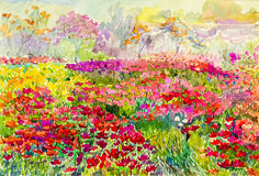 Watercolor painting original landscape colorful of flowers fields in garden Royalty Free Stock Images