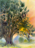 Watercolor painting original landscape colorful of A large tree