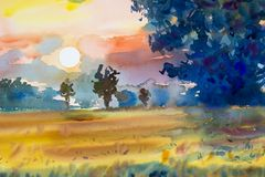 Landscape colorful of rice field with big tree in sunset. Watercolor  painting original landscape colorful of rice field with big tree in sunset and emotion in Stock Photography