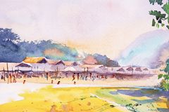 Watercolor painting original landscape colorful of the riverside. And wooden house homestay with green tree and sky cloud background. The local market and vector illustration