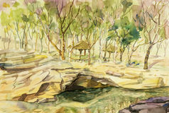 Watercolor painting original landscape colorful of stone, river Royalty Free Stock Photo