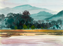 Watercolor painting original landscape colorful of trees meadow Royalty Free Stock Photo