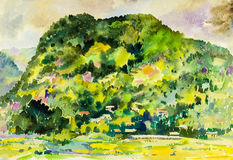 Watercolor painting original landscape colorful  of village hill Royalty Free Stock Photography