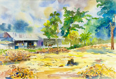 Watercolor painting original landscape shops rural people Stock Images