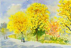 Watercolor painting original landscape yellow, orange color of golden tree Stock Photos