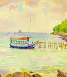 Watercolor painting original seascape colorful of fishing boat. And emotion in sky cloud background royalty free illustration