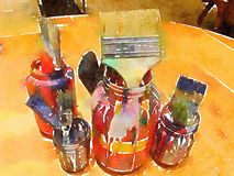 Watercolor painting of paint brushes in jars. Watercolor painting of colorful paint brushes in jars with paint dripping Stock Images
