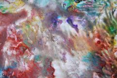 Red orange blue fluid paint watercolor background, colorful texture. Watercolor painting pastel fluid abstract background in red gray purple blue green violet royalty free stock images