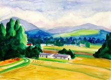 Watercolor Painting - Peaceful Village Stock Images