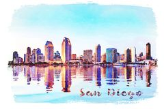 Watercolor painting from photograph of San Diego Skyline at sunset from Coronado. Digital watercolor painting from photograph of the tall skyscrapers of San royalty free stock photos