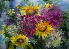 Watercolor painting picture drawing of bouquet flowers stock illustration