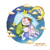 Watercolor painting print children`s illustration with a child in the diaper, the baby is sleeping on the pillow, around the stars stock illustration