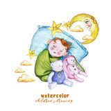 Watercolor painting print children`s illustration with a child in the diaper, the baby is sleeping on the pillow, around the stars vector illustration