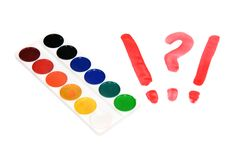 Watercolor painting and punctuation marks Royalty Free Stock Image