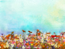 Watercolor painting purple cosmos flower field Royalty Free Stock Photo