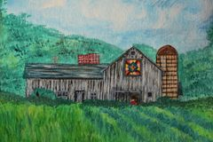 Watercolor Painting of a Quilt Barn Royalty Free Stock Photos