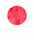 Watercolor painting  red circle background on white  canvas paper. Royalty Free Stock Image