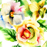 Watercolor painting with Red flowers Stock Images
