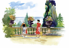 Watercolor painting resort balcony with couple vector illustration Royalty Free Stock Images