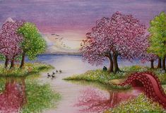 Watercolor Painting of Romantic Lake Scene Stock Photos