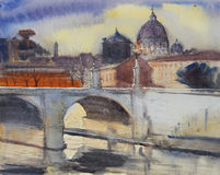 Watercolor painting of Rome Stock Photo